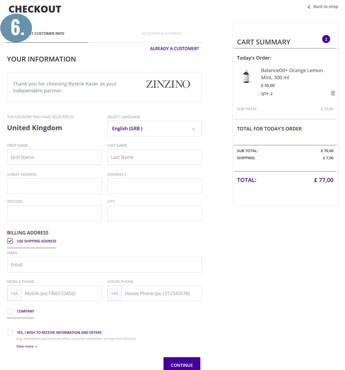#6 - Zinzino checkout page and shipping address selection